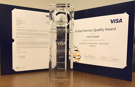 Visa acknowledges PrivatBank as one of the best global banks by quality of card service
